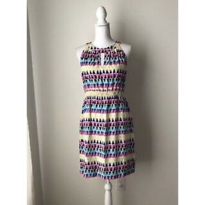 Kate Spade Dress Multicolored Shapes Silk Sz 10